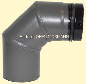 Ofenrohr für Pelletofen DN 100 mm Bogen 90 Grad ohne Tür grau emailliert