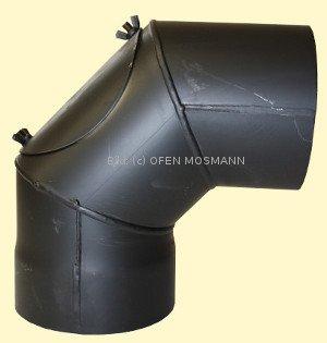 Ofenrohr DN 130 mm Bogen Knie 90° mit Tür 2 mm Stahl gemufft schutzlackiert (nicht kratzerfrei)