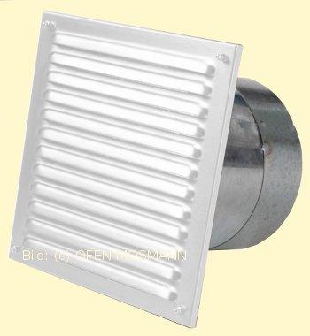 Außenluftgitter weiß 23 x 23 cm mit Stutzen 80 mm & Insektenschutz Marke CB-tec