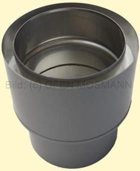 Doppelwandiges Ofenrohr Isoline DN 150 mm Übergang Wandeingang (dw-ew) gussgrau #288