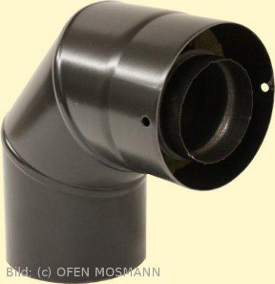 Doppelwandiges Ofenrohr für Pelletofen DN 125 mm Bogen 90° ohne Tür mattschwarz emailliert