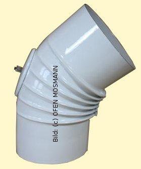 Ofenrohr DN 120 mm weiß emailliert Bogen gerippt 45° mit Tür hq