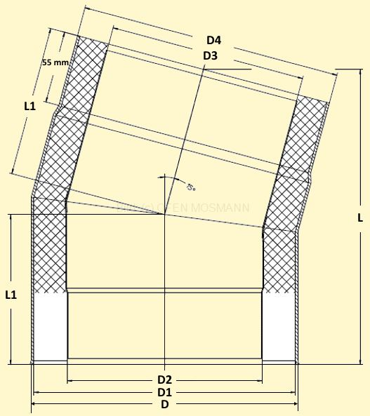 Primus Ofenrohrbogen 15° Maßskizze