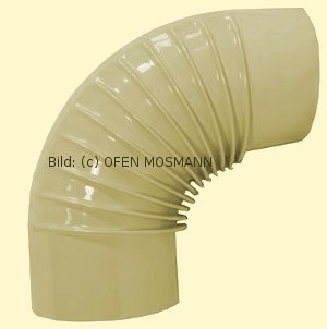 Ofenrohr DN 120 mm beige emailliert Bogen gerippt 90° ohne Tür hq