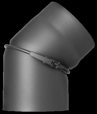 Ofenrohr Kaminofen DN 130 mm Bogen 0-45° ohne Tür gussgrau #288