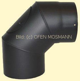 Ofenrohr Kaminofen DN 120 mm Bogen 90° mit Tür schwarz #310
