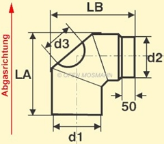 Ofenrohr Bogen Maßskizze