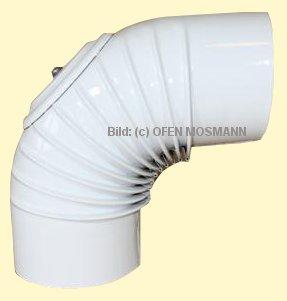 Ofenrohr DN 110 mm weiß pulverbeschichtet. Ofenrohr DNbogen 90° gerippt mit Tür