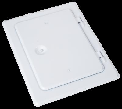 Kamintür aus Edelstahl V2A, weiß lackiert. Nennmaß 140 mm x 200 mm