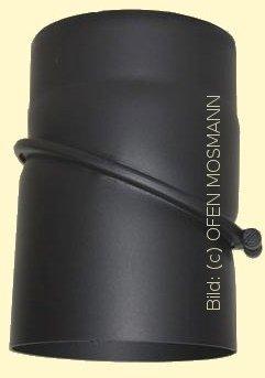 Ofenrohr Kaminofen DN 180 mm Bogen Winkel 0-45° ohne Tür schwarz #310