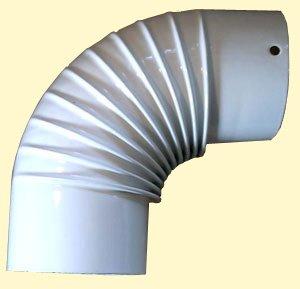 Ofenrohr DN 130 mm weiß emailliert Bogen gerippt 90° ohne Tür hq