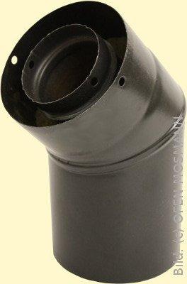 Doppelwandiges Ofenrohr für Pelletofen DN 125 mm Bogen 45° ohne Tür mattschwarz emailliert