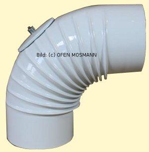 Ofenrohr DN 130 mm weiß emailliert Bogen gerippt 90° mit Tür hq