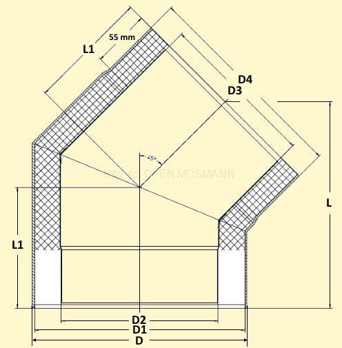 Primus Ofenrohrbogen 45° Maßskizze
