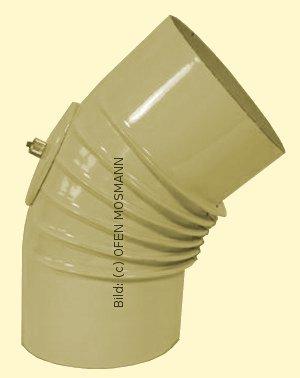 Ofenrohr DN 120 mm beige emailliert Bogen gerippt 45° mit Tür hq
