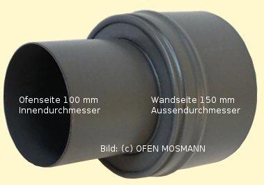Ofenrohr für Pelletofen Erweiterung von DN 100 auf 150 mm grau emailliert