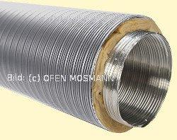 Aluflexrohr isoliert DN 150 mm, Länge 1,20 m, unbeschichtet