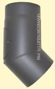 Ofenrohr Kaminofen DN 120 mm Bogen 45° mit Tür gussgrau #288