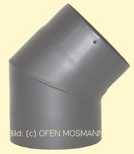 Ofenrohr Kaminofen DN 150 mm Bogen Winkel 45° ohne Tür gussgrau hell #820