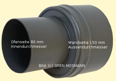 Ofenrohr für Pelletofen Erweiterung von DN 80 auf 150 mm grau emailliert