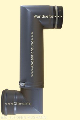 Ofenrohr für Pelletofen DN 80 mm Doppelbogen verstellbar von 0,34 m bis 0,52 m grau emailliert