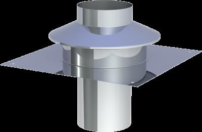 Edelstahlschornstein EW 130 mm x 0,6 mm Kopfabdeckung mit Ringspalthinterlüftung