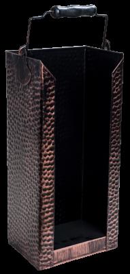 Brikett-Träger schwarz-kupferfarben 19 x 15 x 46 gehämmert