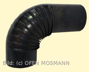 Ofenrohre DN 110 mm gebläutes Ofenrohr Bogen gerippt 90° ohne Tür mit Verlängerung