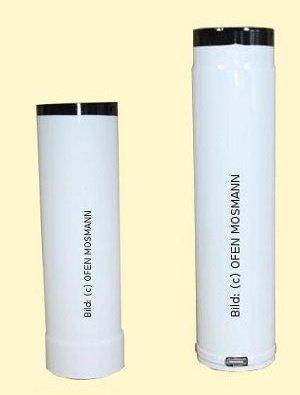 Ofenrohr DN 130 mm weiß emailliert Ofenrohr verstellbar von 0,50 m bis 0,80 m