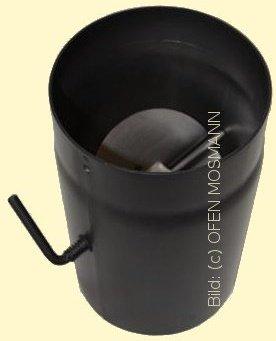Ofenrohr Kaminofen DN 160 mm 0,50 m Länge mit Drosselklappe schwarz #310