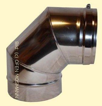 DW ECO 2.0 Edelstahlschornstein DN 130 mm Bogen 90 Grad ohne Tür