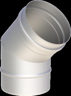 Edelstahlschornstein EW 150 mm x 0,6 mm Bogen 45 Grad