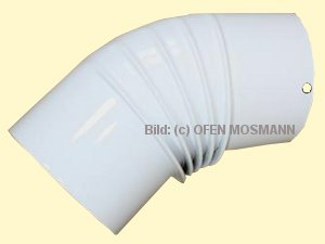 Ofenrohr DN 90 mm weiß pulverbeschichtet. Ofenrohr DNbogen 45° gerippt ohne Tür