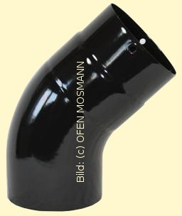 Ofenrohr DN 120 mm schwarz glänzend emailliert Bogen glatt 45° ohne Tür hq