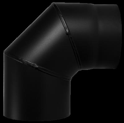 Ofenrohr Kaminofen DN 150 mm Bogen Winkel 90° ohne Tür schwarz #310