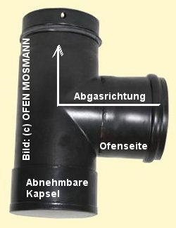 Ofenrohr für Pelletofen DN 100 mm Kapselknie 0,25 m Länge mattschwarz emailliert