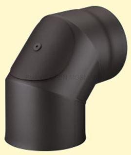Doppelwandiges Ofenrohr Primus DN 130 mm Bogen 90° ohne Tür schwarz #310