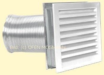 Luftgitter weiß 23 cm x 23 cm mit Einbaurahmen u. Stutzenblech 150 mm Marke CB-tec
