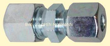 Heizölleitung 15 mm Schneidring-Reduzier-Verschraubung GRV 15 mm x 12 mm gerade Stahl-verzinkt