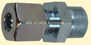 Heizölleitung 10 mm Schneidring-Einschraub-Verschraubung GEV 10 mm x 3/8 Zoll gerade Stahl-verzink