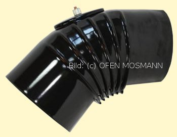 Ofenrohr DN 120 mm mattschwarz emailliert Bogen gerippt 45° mit Tür hq