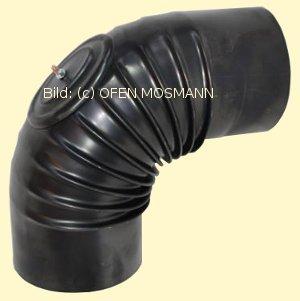 Ofenrohre DN 120 mm gebläutes Ofenrohr Bogen gerippt 90° mit Tür