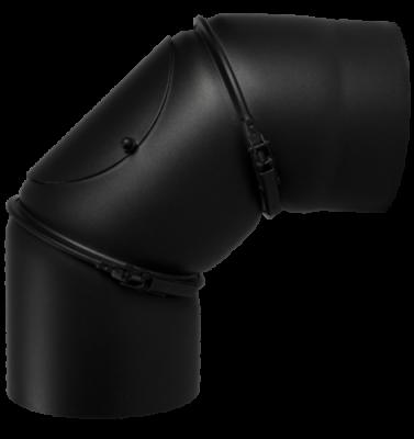 Ofenrohr Kaminofen DN 180 mm Bogen 0-90° mit Tür schwarz #310