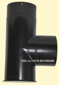 Ofenrohr DN 100 mm mattschwarz emailliert Kapselknie 0,33 m Länge hq