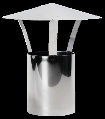 Ofenrohr aus Edelstahl DN 180 mm Längenelement 0,25 m mit Regenhut