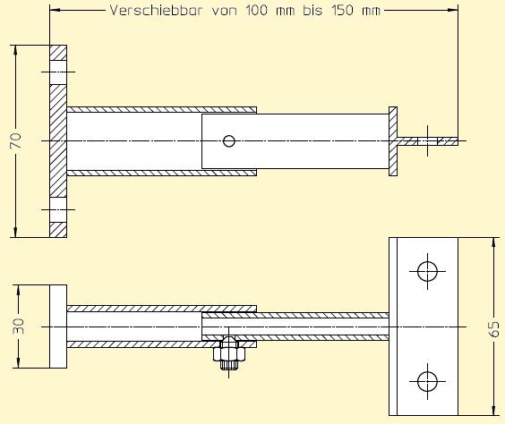 Maßskizze Wandhalterung 100 bis 150 mm