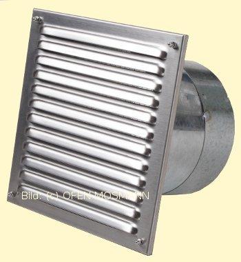 Luftgitter Edelstahl 21 cm x 21 cm mit Stutzen 80 mm Marke CB-tec