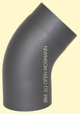 Ofenrohr Kaminofen DN 130 mm Bogen 45° glatt ohne Tür gussgrau #288