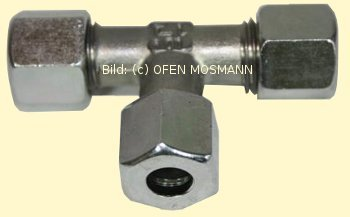 Heizölleitung 12 mm Schneidring-T- Verschraubung TV 12 mm Stahl-verzinkt