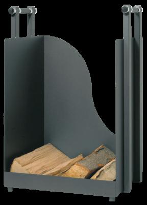 Holzkorb aus Metall anthrazit beschichtet